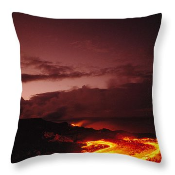 Moon Over Lava At Dawn Throw Pillow by Peter French - Printscapes