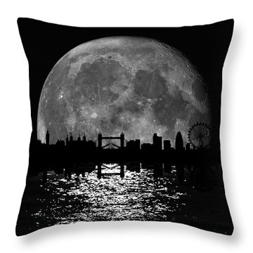 Moonlight London Skyline Throw Pillow by Mark Rogan