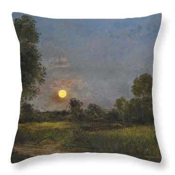 Moonrise Throw Pillow by Charles Francois Daubigny