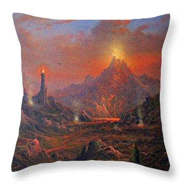 Mordor Land Of Shadow Throw Pillow by Joe Gilronan