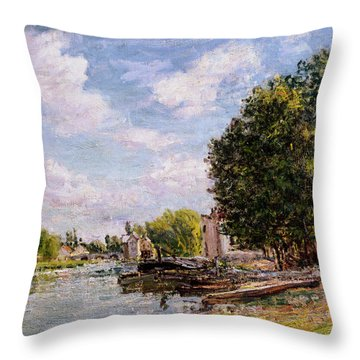 Moret-sur-loing Throw Pillow by Alfred Sisley
