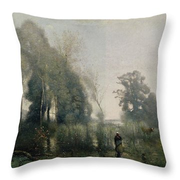 Morning At Ville Davray Throw Pillow by Jean Baptiste Camille Corot