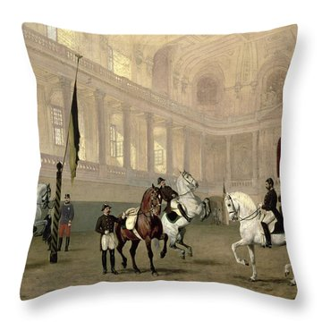 Morning Exercise In The Hofreitschule Throw Pillow by Julius von Blaas