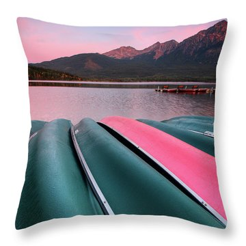 Morning View Of Pyramid Lake In Jasper National Park Throw Pillow by Mark Duffy