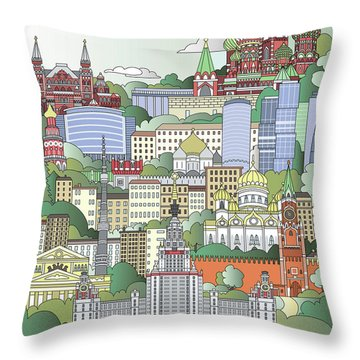 Moscow City Poster Throw Pillow by Pablo Romero