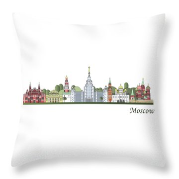 Moscow Skyline Colored Throw Pillow by Pablo Romero