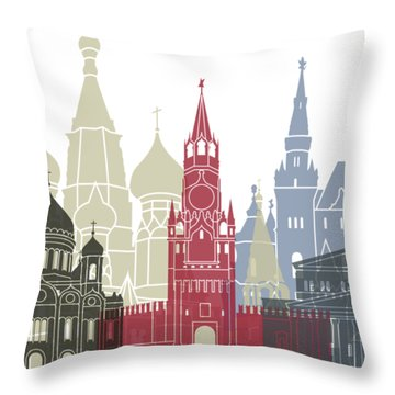 Moscow Skyline Poster Throw Pillow by Pablo Romero