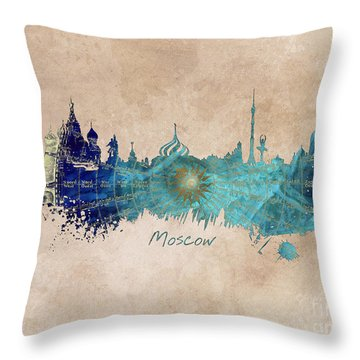 Moscow Skyline Wind Rose Throw Pillow by Justyna JBJart