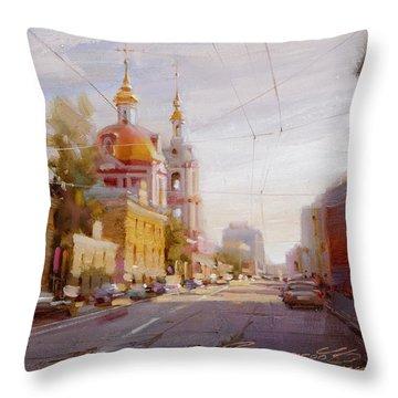 Moscow. Staraya Basmannaya Street Throw Pillow by Ramil Gappasov