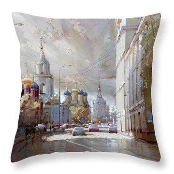 Moscow. Varvarka Street. Throw Pillow by Ramil Gappasov