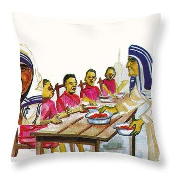 Mother Teresa Throw Pillow by Emmanuel Baliyanga