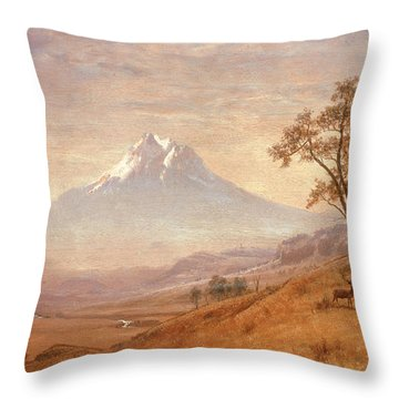 Mount Hood Throw Pillow by Albert Bierstadt