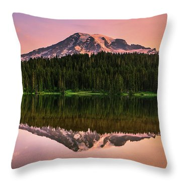 Throw Pillows Magnolia : Mount Rainier At Sunrise Photograph by Henk Meijer Photography