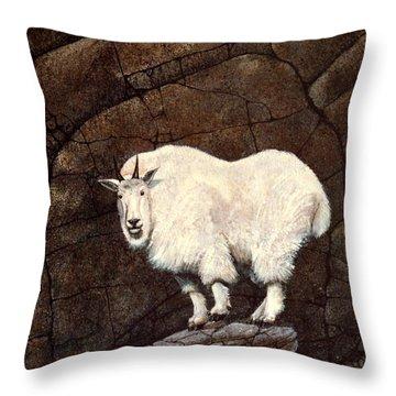 Mountain Goat Throw Pillow by Frank Wilson