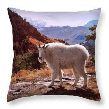 Mountain Goat Throw Pillow by Patricia Montgomery