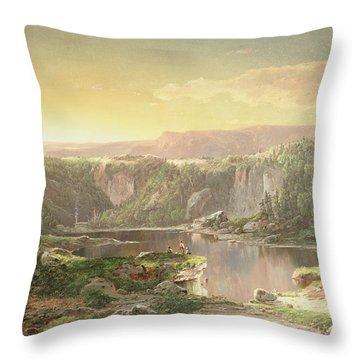 Mountain Lake Near Piedmont Throw Pillow by William Sonntag