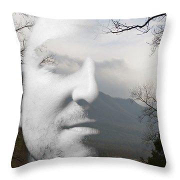 Mountain Man Throw Pillow by Christopher Gaston