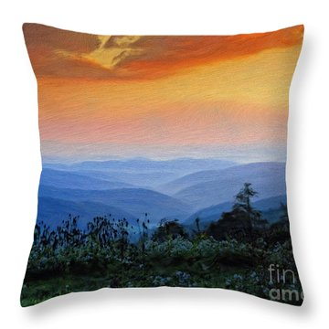Mountain Sunrise Throw Pillow by Lois Bryan