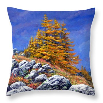 Mountain Tamaracks Throw Pillow by Frank Wilson