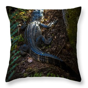 Mr Alley Gator Throw Pillow by Marvin Spates