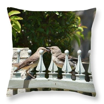 Mr And Mrs Mockingbird With Worms Throw Pillow by Linda Brody