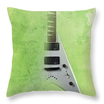 Dr House Inspirational Quote And Electric Guitar Green Vintage Poster For Musicians And Trekkers Throw Pillow by Pablo Franchi