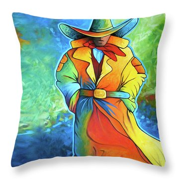 Multi Color Cowboy Throw Pillow by Lance Headlee