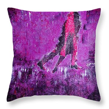 Music Inspired Dancing Tango Couple In Purple Rain Contemporary Lyrical Splattered And Emotional Throw Pillow by M Zimmerman