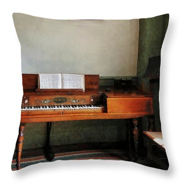 Music Room With Piano Throw Pillow by Susan Savad