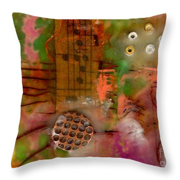 Musical Notes Throw Pillow by Angela L Walker