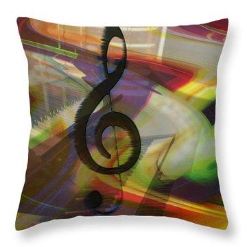 Musical Waves Throw Pillow by Linda Sannuti