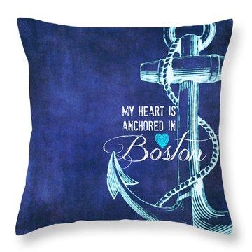 My Heart Is Anchored In Boston Blue Throw Pillow by Brandi Fitzgerald