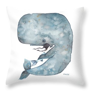 My Whale Throw Pillow by Soosh