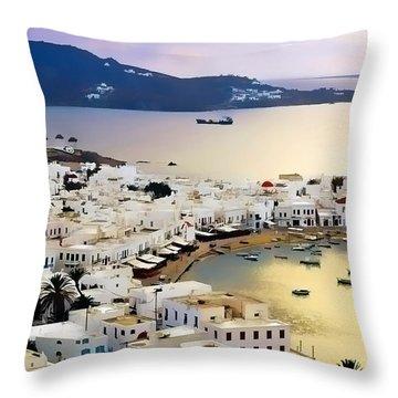Mykonos Greece Throw Pillow by Dean Wittle