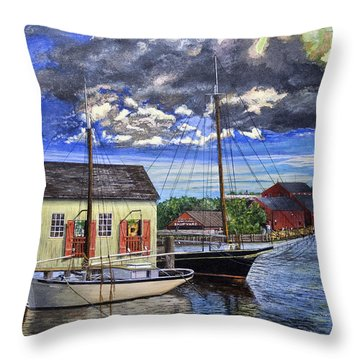 Mystic Seaport Ct Throw Pillow by Stuart B Yaeger