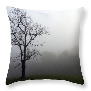 Mysty Tree Throw Pillow by Marty Koch