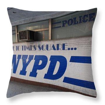 N Y P D Blue Throw Pillow by Rob Hans