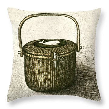 Nantucket Basket Throw Pillow by Charles Harden