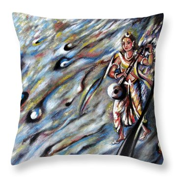 Narada Muni Throw Pillow by Harsh Malik