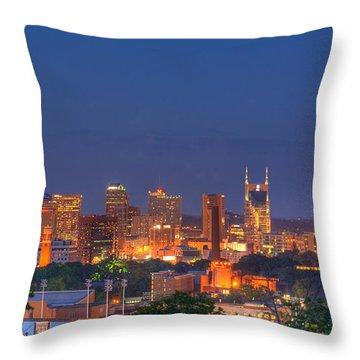Nashville By Night Throw Pillow by Douglas Barnett