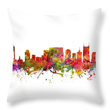 Nashville Cityscape 08 Throw Pillow by Aged Pixel