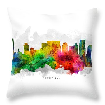 Nashville Tennessee Cityscape 12 Throw Pillow by Aged Pixel