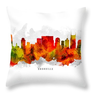Nashville Tennessee Cityscape 15 Throw Pillow by Aged Pixel