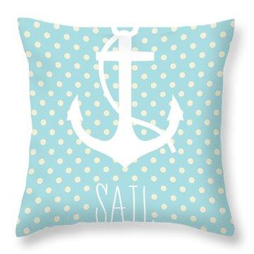 Nautical Anchor Art Print Throw Pillow by Taylan Apukovska