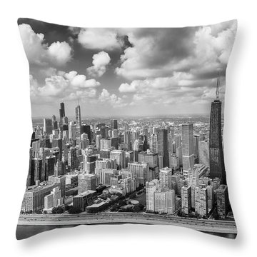 Near North Side And Gold Coast Black And White Throw Pillow by Adam Romanowicz