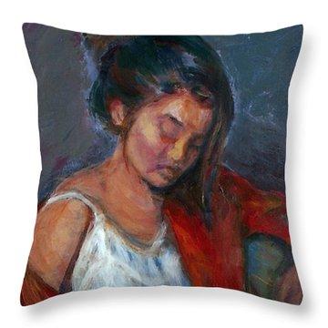 Near Sleep Throw Pillow by Quin Sweetman