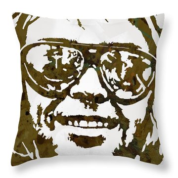 Neil Young Pop  Stylised Art Sketch Poster Throw Pillow by Kim Wang