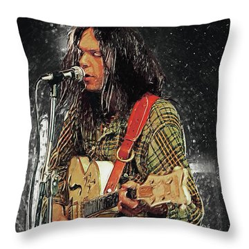 Neil Young Throw Pillow by Taylan Apukovska