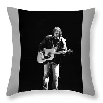 Neil Young Throw Pillow by Wayne Doyle