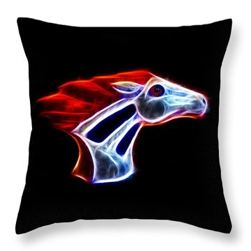 Neon Bronco Throw Pillow by Shane Bechler